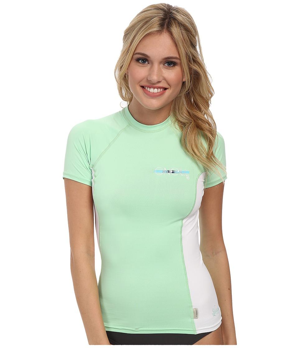 O'Neill - Skins S/S Crew (Mint/White/Mint) Women's Swimwear