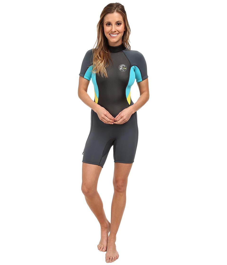 O'Neill - Bahia S/S Spring (Graphite/Light Aqua/Yellow) Women's Swimwear