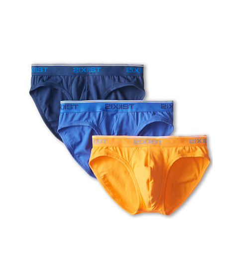 2(X)IST - Cotton Stretch No Show Brief (Estate Blue/Orange Peel/Dazzling Blue) Men