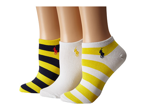LAUREN by Ralph Lauren - Rugby Stripe Ped 3-Pack (Yellow) Women's Crew Cut Socks Shoes