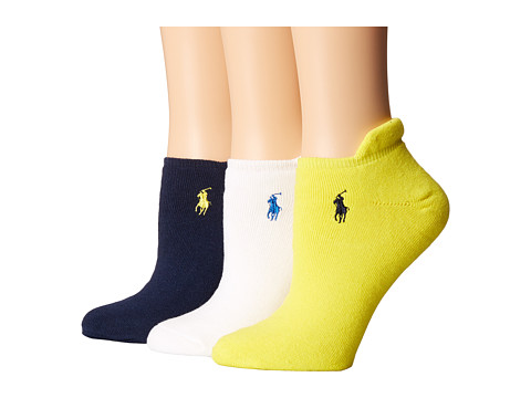 LAUREN by Ralph Lauren - Heel Tab Cushion Sole Cotton Ped 3 Pack (Assorted 17 (Navy/Yellow/White)) Women's Low Cut Socks Shoes