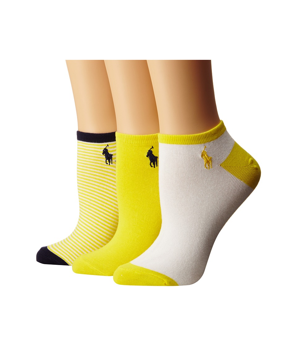 LAUREN by Ralph Lauren - Feed Stripe Ped 3-Pack (Yellow) Women's Crew Cut Socks Shoes