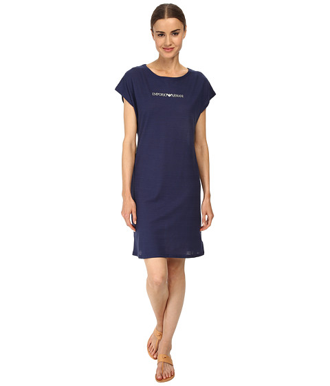 Emporio Armani - Casual Cool Knit Maxi T-Shirt (Navy Blue) Women's Swimwear