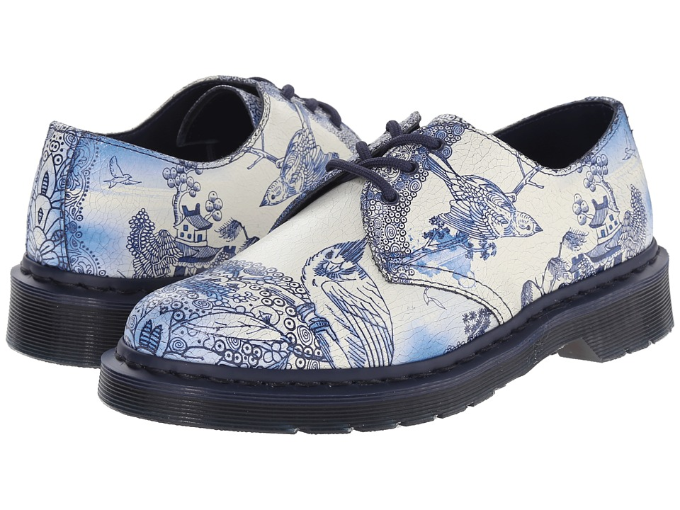 Dr. Martens - 1461 (White/Navy Willow Cristal Suede) Women