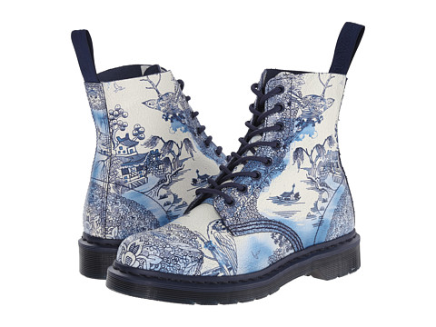Dr. Martens - Pascal (White/Navy Willow Cristal Suede) Women's Lace-up Boots