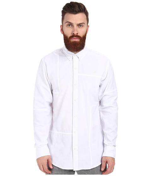 Publish - Neil Patchwork Oxford Long Sleeve Shirt (White) Men's Long Sleeve Button Up