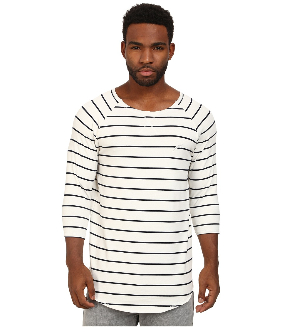 Publish - Paxton Brushed Stripe 3/4 Sleeve Crew with Scallop Bottom (White) Men