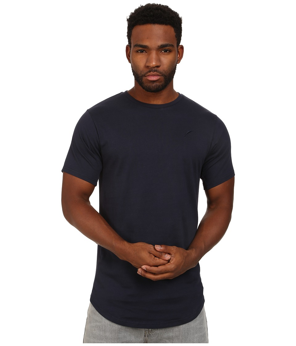 Publish - Shelby Premium Jersey Short Sleeve Crew Neck with Scallop Bottom and 1 X 1 Ribbing Panels At Sleeve and Side Seam (Navy) Men's T Shirt