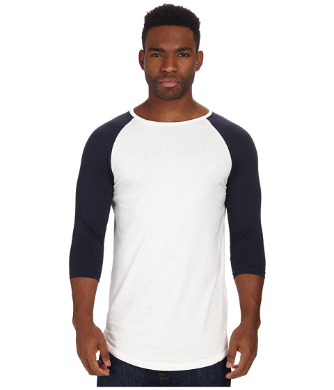 Publish - Felix Premium Jersey Raglan 3/4 Sleeve Crew Neck Scallop Bottom (White) Men's Clothing