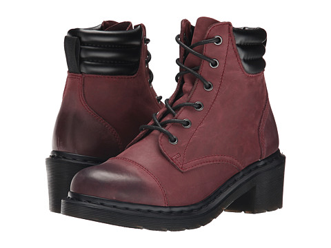 Dr. Martens - Alexandra 6-Eye Padded Collar Boot (Old Cherry Burnished Cowboy Up) Women