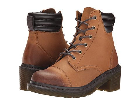 Dr. Martens - Alexandra 6-Eye Padded Collar Boot (Tan Burnished Cowboy Up) Women's Lace-up Boots