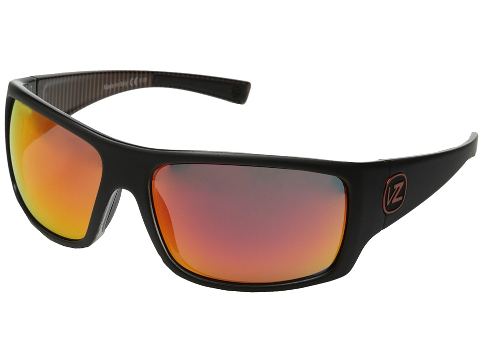 VonZipper - Suplex (Black Satin-Orange Stripe/Lunar Glo) Plastic Frame Sport Sunglasses