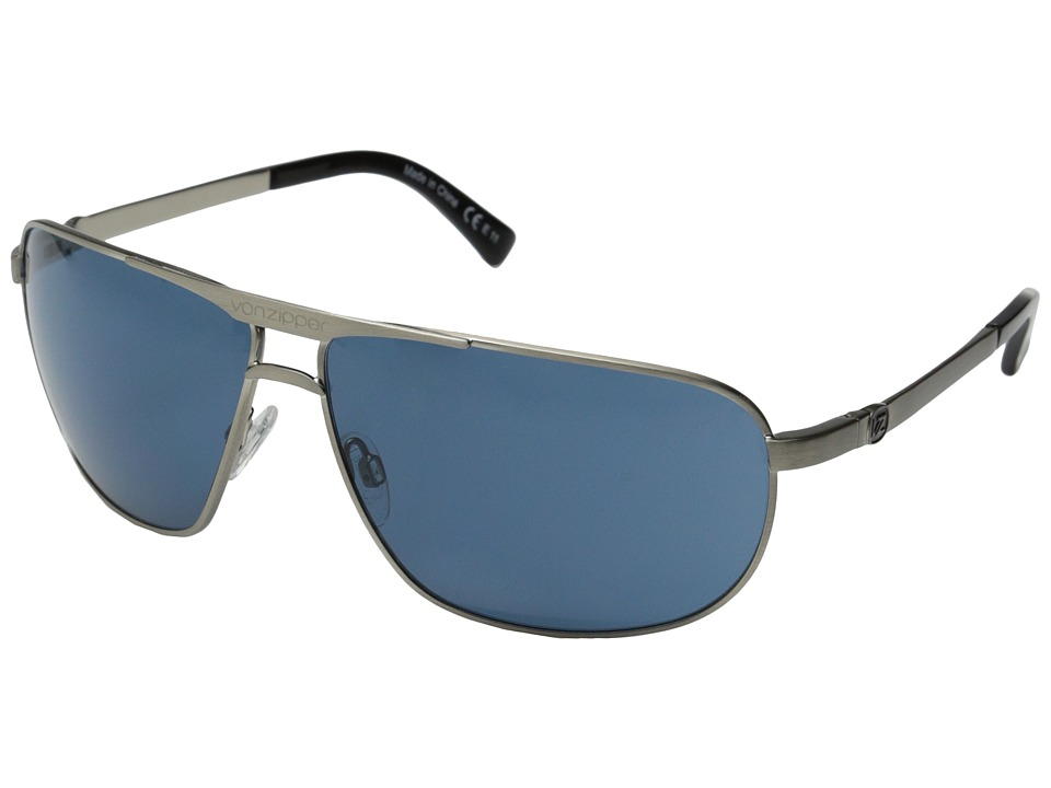 VonZipper - Skitch (Silver Satin/Navy) Sport Sunglasses