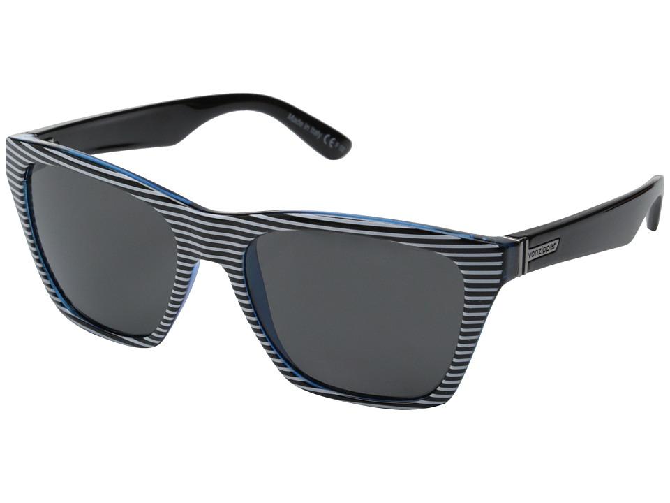 VonZipper - Booker (White Stripes Blue/Grey) Sport Sunglasses