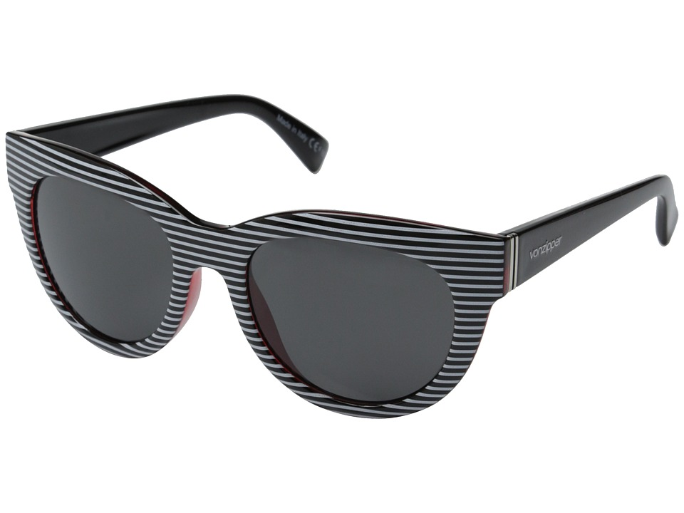 VonZipper - Queenie (White Stripe Red Black/Grey) Sport Sunglasses