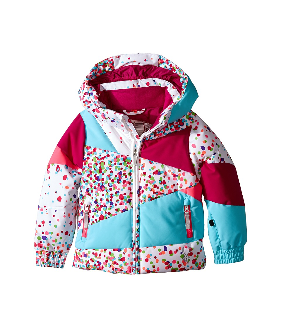 Spyder Kids - Bitsy Duffy Puff Jacket (Toddler/Little Kids/Big Kids) (White Confetti/Wild/Shatter) Girl's Coat