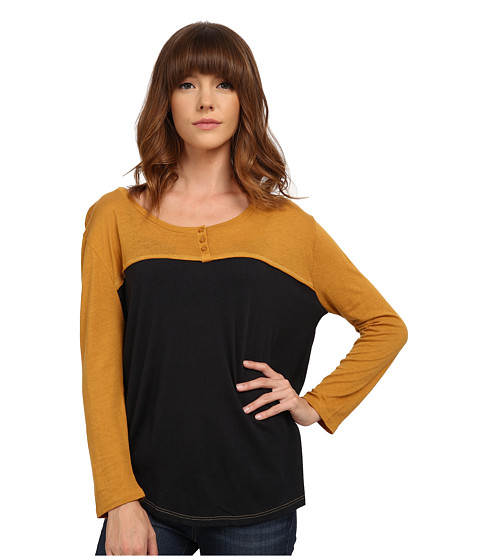 Volcom - Block It Henley (Buckthorn) Women's Long Sleeve Pullover