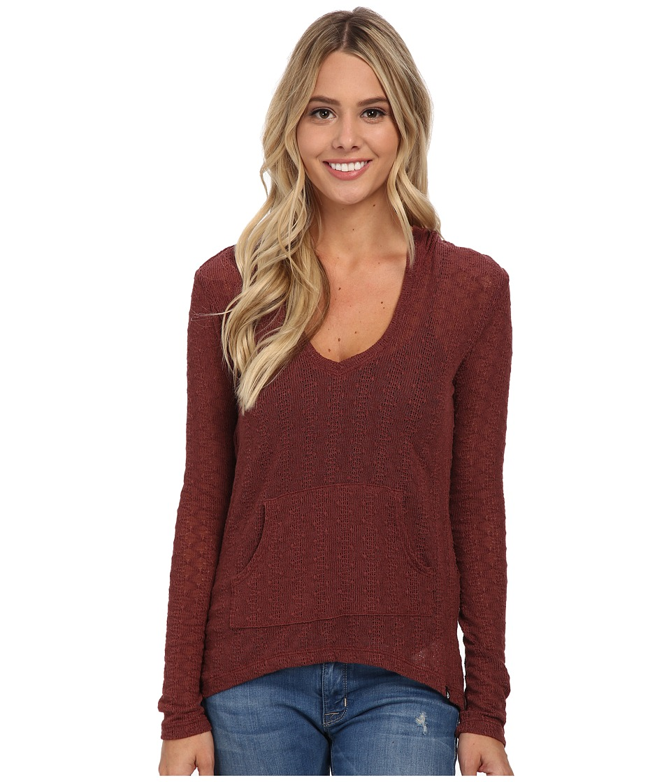 Volcom - Free To Go V-Neck Top (Cognac) Women's Long Sleeve Pullover