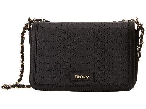 DKNY - Bryant Park- Python Small Flap Crossbody w/ Adjustable Chain Handle (Black) Cross Body Handbags