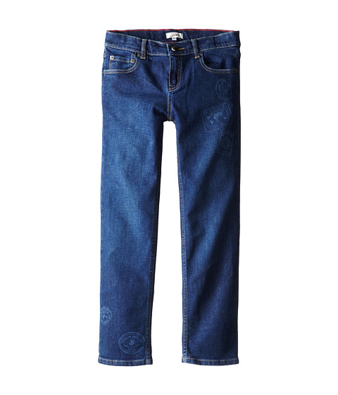 Junior Gaultier - Laser Embossed Patches Jeans (Big Kid) (Denim Blue) Boy's Jeans
