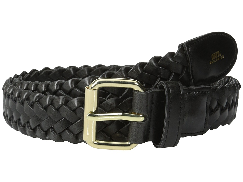 Obey - Gentry Braided Leather Belt (Black) Men