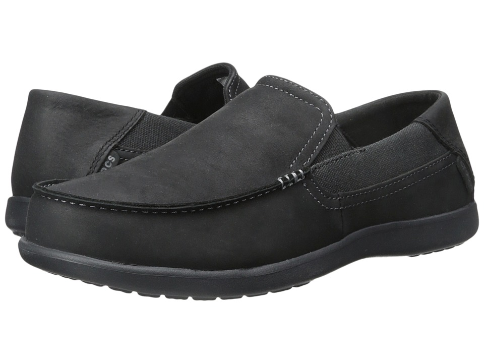 Crocs - Santa Cruz 2 Luxe Leather (Black/Black) Men's Shoes