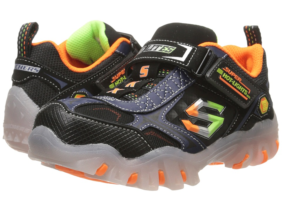 SKECHERS KIDS - Street Lightz - Vroo Lights 90478L (Little Kid) (Black/Navy/Orange) Boys Shoes