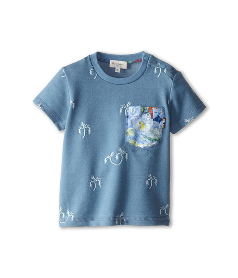 Paul Smith Junior - Palm Tree Print with Animal Print Pocket T-Shirt (Infant) (Blue Shadow) Boy