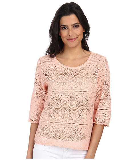 ONLY - Line 3/4 Short Top (Peach Melba) Women's Blouse
