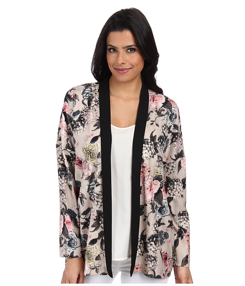 ONLY - Eah Flower Long Sleeve Kimono (Pumice Stone) Women's Clothing
