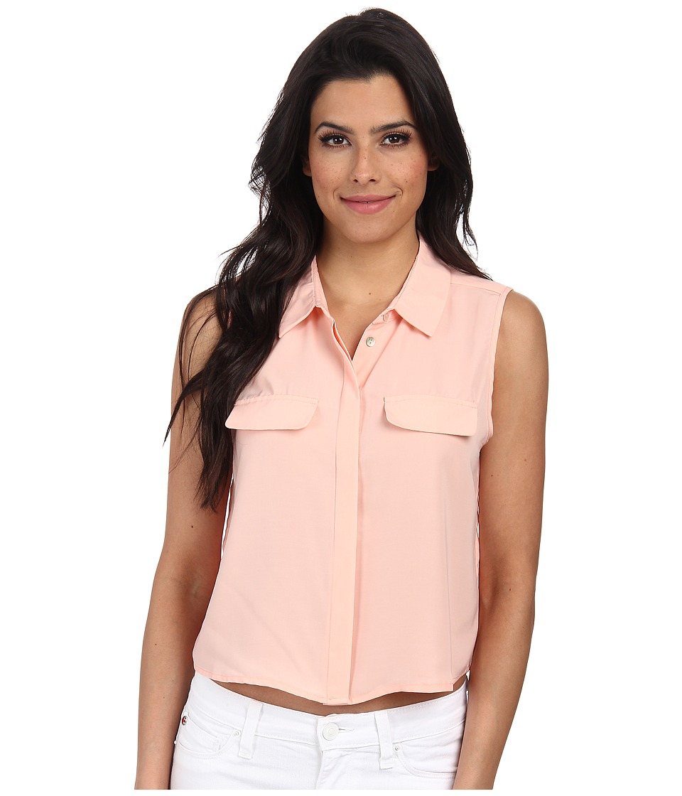 ONLY - Cadie Solid Cropped Shirt (Peach Melba) Women's Blouse