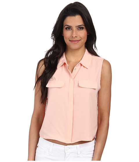 ONLY - Cadie Solid Cropped Shirt (Peach Melba) Women