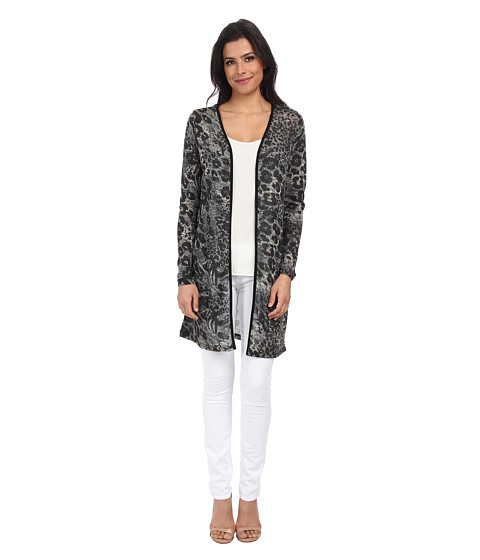 ONLY - Animal Print Cardigan (Black) Women's Sweater