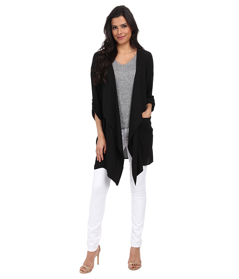 ONLY - Sniper Long Sleeve Drapy Cardigan (Black) Women's Sweater