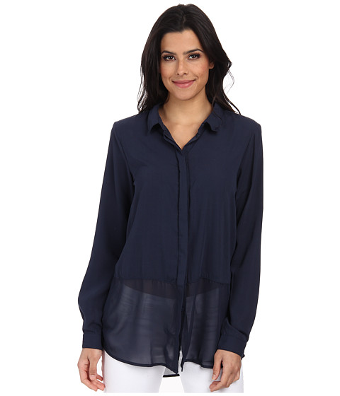 ONLY - Reagan Long Sleeve Long Shirt (Mood Indigo) Women's Long Sleeve Button Up