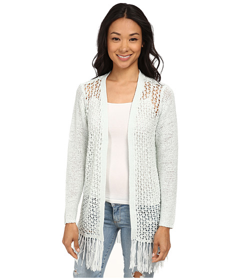 ONLY - Fringe Long Sleeve Long Cardigan (Wan Blue) Women's Sweater