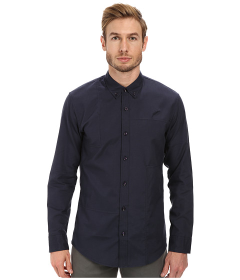 Publish - Neil Patchwork Oxford Long Sleeve Shirt (Navy) Men