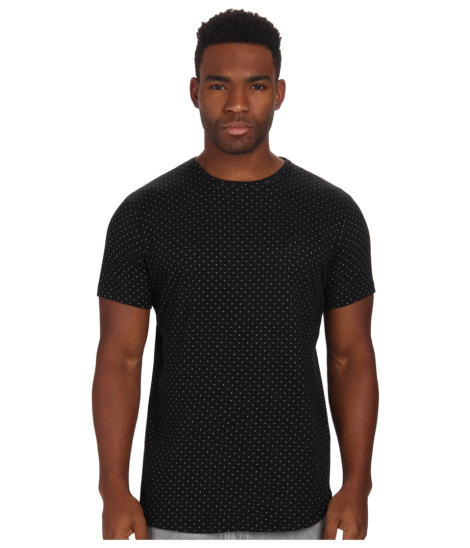 Publish - Weston Bonded Polka Knit Short Sleeve Crew with Scalloped Bottom (Black) Men