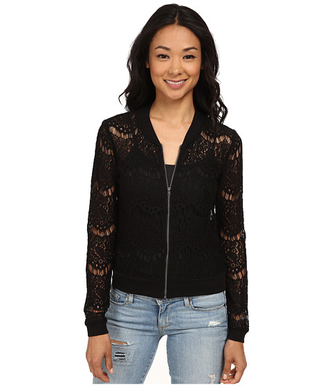 ONLY - Sweet Lace Long Sleeve Bomber Jacket (Black) Women's Coat
