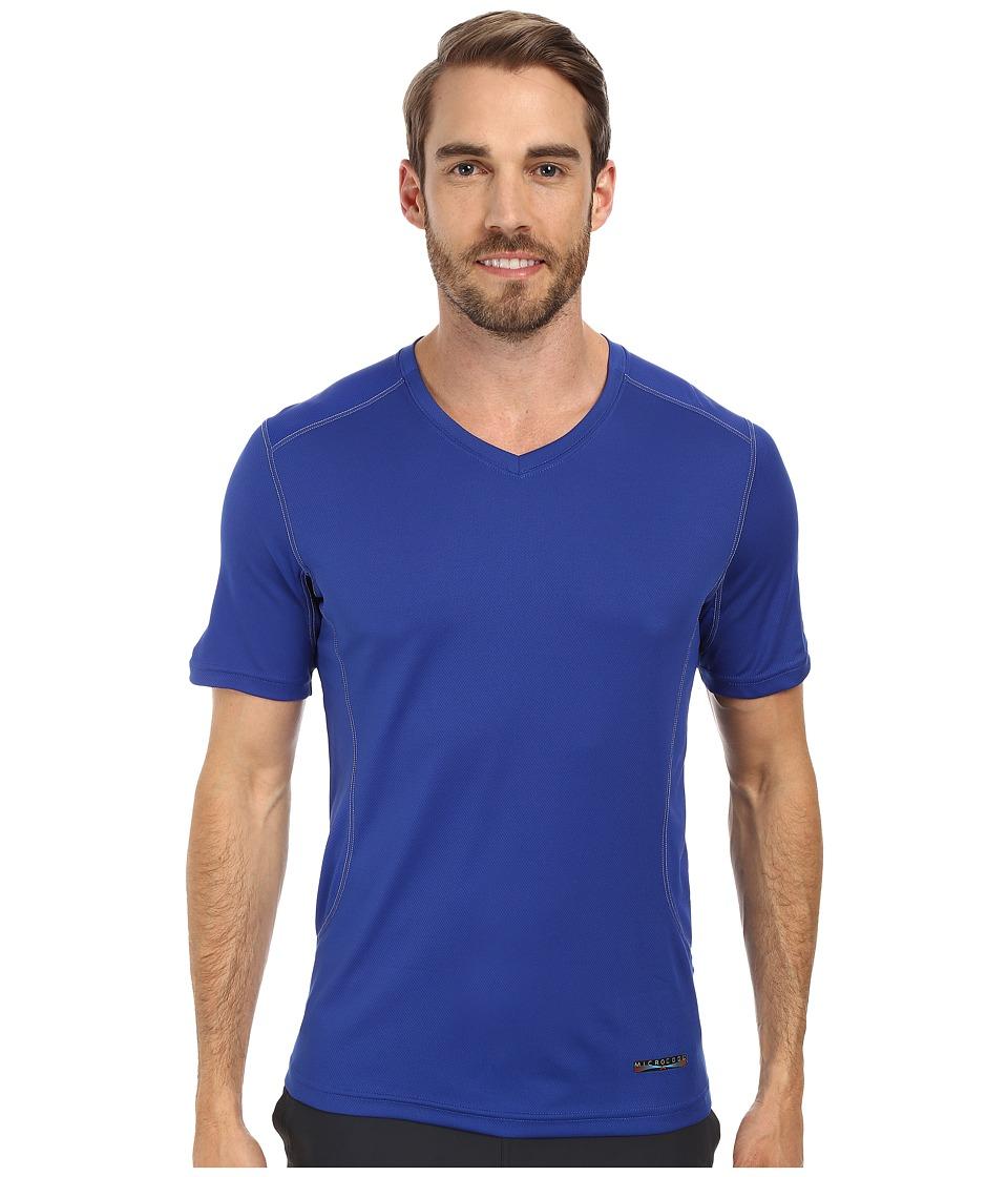 Terramar - Microcool Short Sleeve V-Neck Shirt W8931 (Indigo) Men's Short Sleeve Pullover