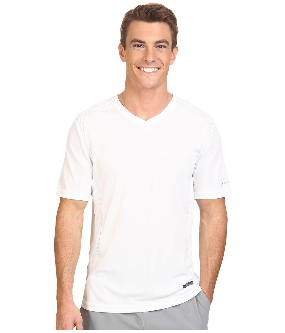 Terramar - Microcool Short Sleeve V-Neck Shirt W8931 (White) Men's Short Sleeve Pullover