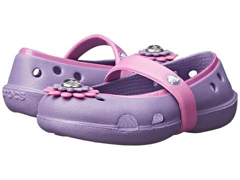 Crocs Kids - Keeley Petal Charm Flat (Toddler/Little Kid) (Blue Violet/Wild Orchard) Girls Shoes