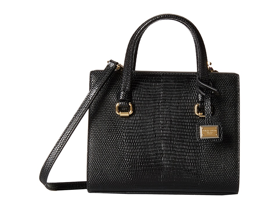 Dolce & Gabbana - Iguana Mini Bag (Nero/Nero) Satchel Handbags