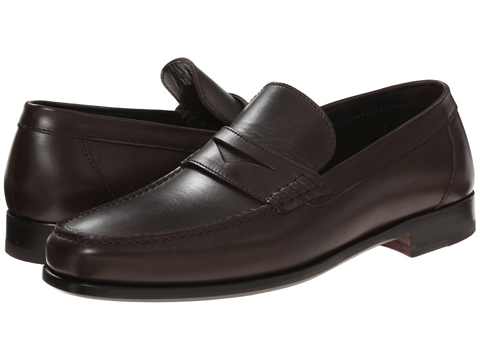 a. testoni - Plain Calf Penny Loafer Mocassin (Moro) Men's Slip on Shoes