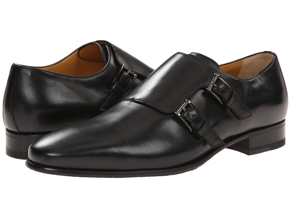 a. testoni - Sport Nappa Double Monkstrap with Half Rubber Sole (Nero/Dark Metal) Men's Monkstrap Shoes