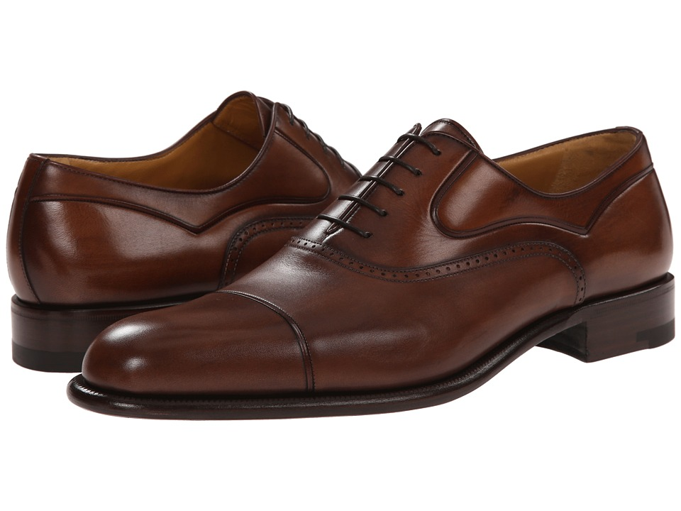 a. testoni - Black Label Washed Calf Oxford with Cap Toe (Caramel) Men's Lace Up Cap Toe Shoes