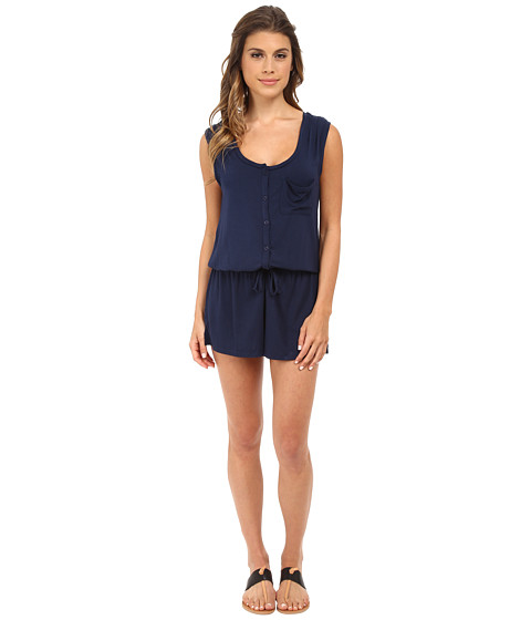 Splendid - Slouchy Short Romper (Black Iris) Women's Jumpsuit & Rompers One Piece