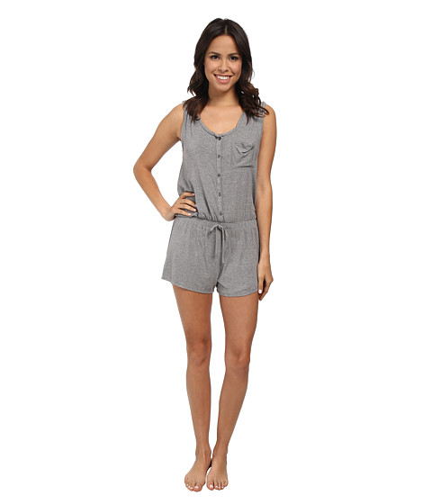 Splendid - Slouchy Short Romper (Marled Grey Heather) Women
