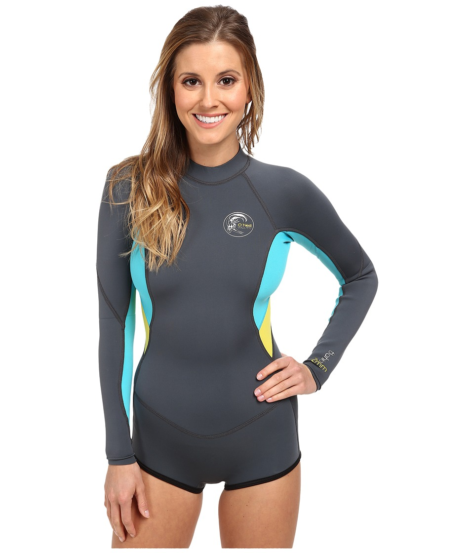 O'Neill - Bahia Long Sleeve Short Spring (Graph/Light Aqua/Yellow) Women's Wetsuits One Piece