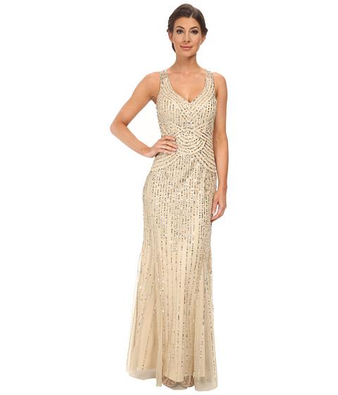 Aidan Mattox - Sleeveless Beaded Gown (Light Gold) Women's Dress